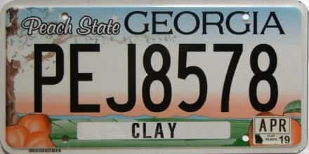 2019 Georgia Counties (Clay) license plate for sale