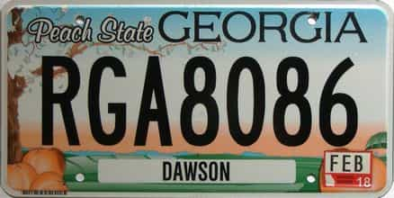 2018 Georgia Counties (Dawson) license plate for sale