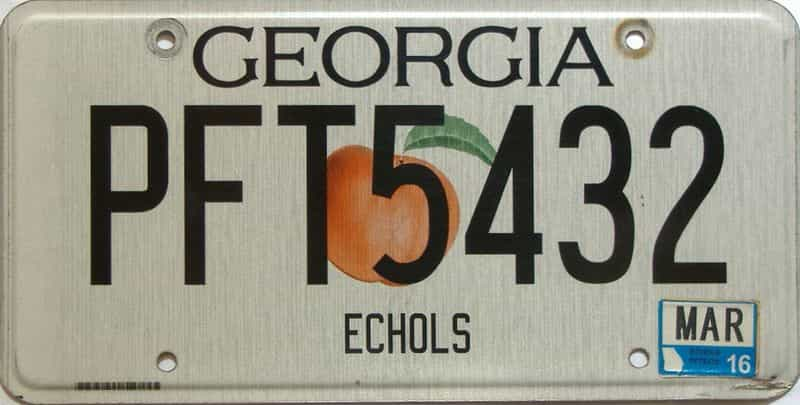 2016 Georgia Counties (Echols) license plate for sale