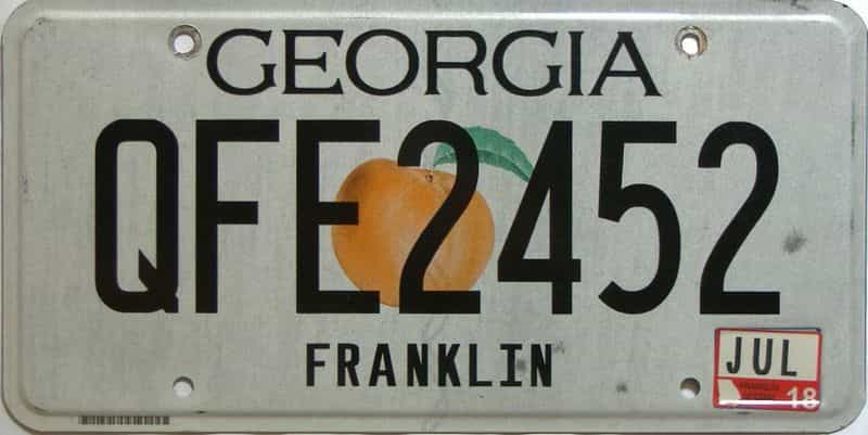 2018 Georgia Counties (Franklin) license plate for sale