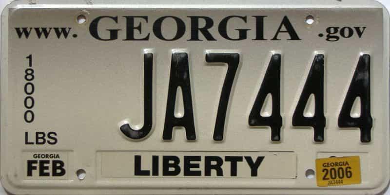 2006 Georgia  (Non Passenger) license plate for sale