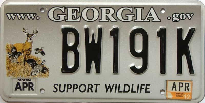 2012 Georgia license plate for sale
