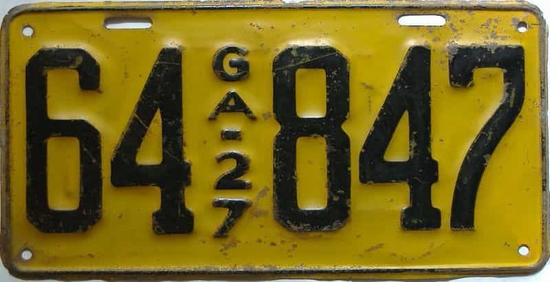 YOM 1927 Georgia license plate for sale