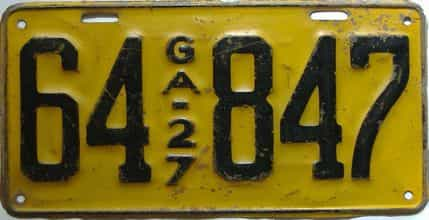 YOM 1927 Georgia license plate for sale