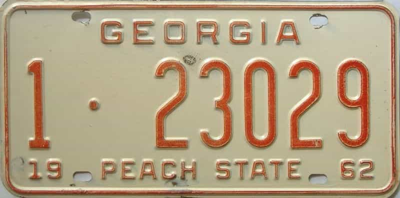 YOM 1962 Georgia (Fulton) license plate for sale