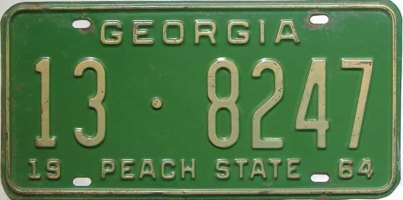 YOM 1964 Georgia (Clayton) license plate for sale