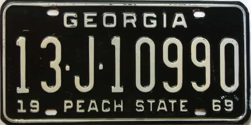 YOM 1969 Georgia (Clayton) license plate for sale