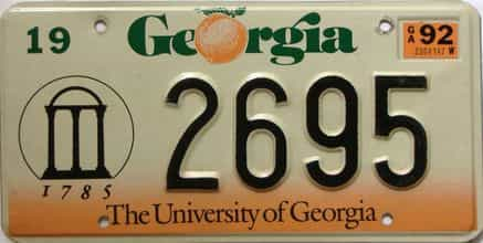1992 Georgia  (Natural) license plate for sale