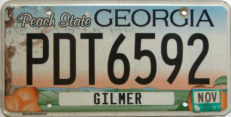2017 Georgia Counties (Gilmer) license plate for sale