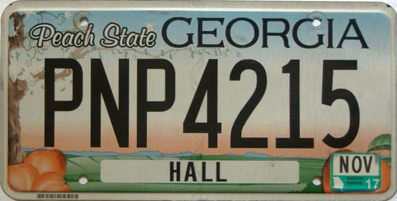 2017 Georgia Counties (Hall) license plate for sale