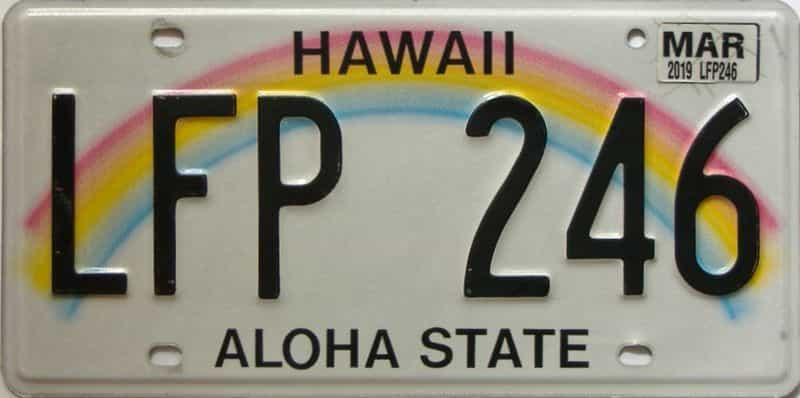 2019 Hawaii  (Single) license plate for sale