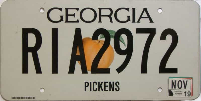 2019 Georgia Counties (Pickens) license plate for sale