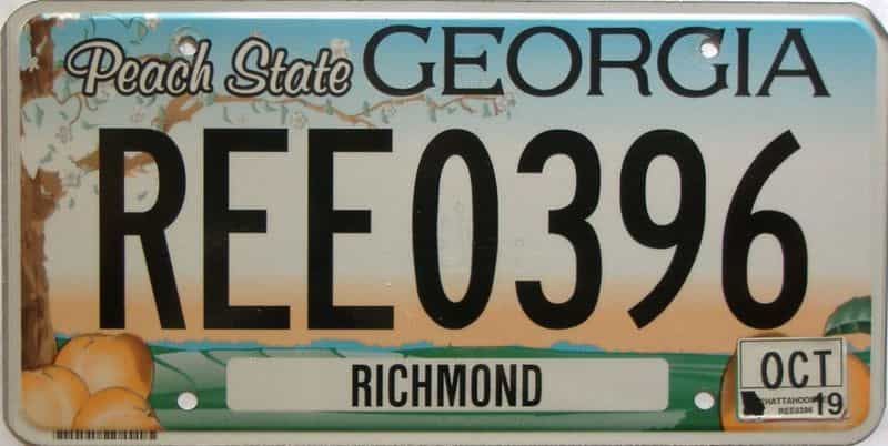 2019 Georgia Counties (Richmond) license plate for sale