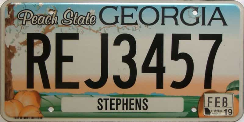 2019 Georgia Counties (Stephens) license plate for sale