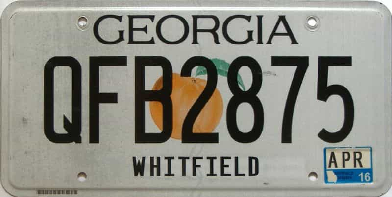 2016 Georgia Counties (Whitfield) license plate for sale