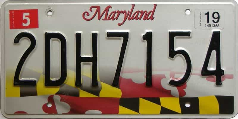 2019 Maryland  (Single) license plate for sale