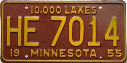 1955 Minnesota  (Single) license plate for sale