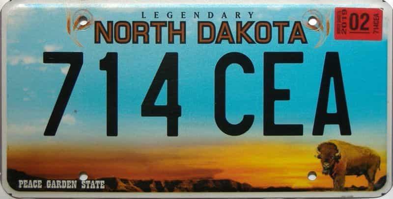 2019 North Dakota  (Single) license plate for sale