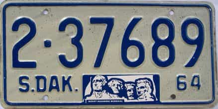1964 South Dakota  (Single) license plate for sale