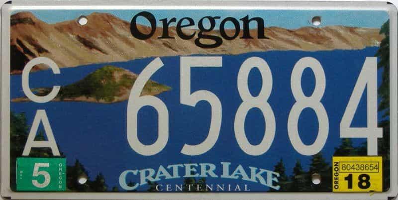 2018 Oregon  (Single) license plate for sale