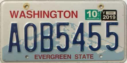 2019 Washington  (Single) license plate for sale