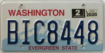 2020 Washington  (Single) license plate for sale