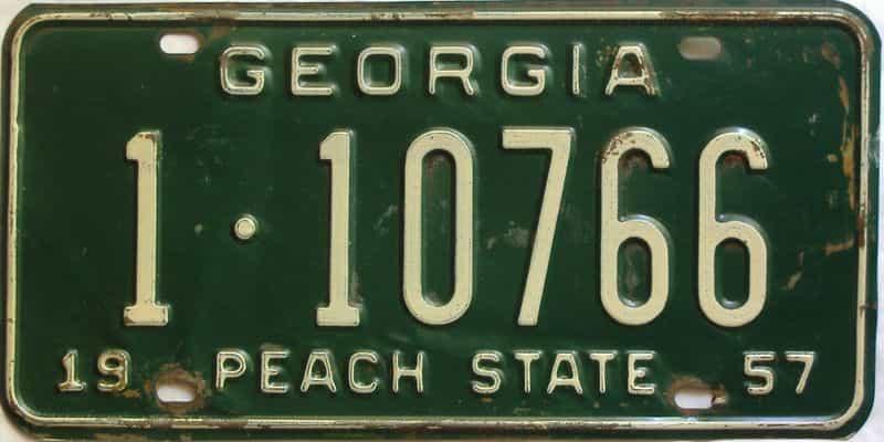 YOM 1957 Georgia (Fulton) license plate for sale