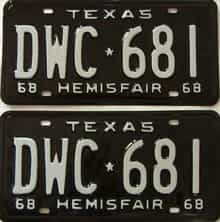 RESTORED 1968 Texas  (Pair) license plate for sale