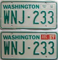 1987 Washington  (Pair) license plate for sale
