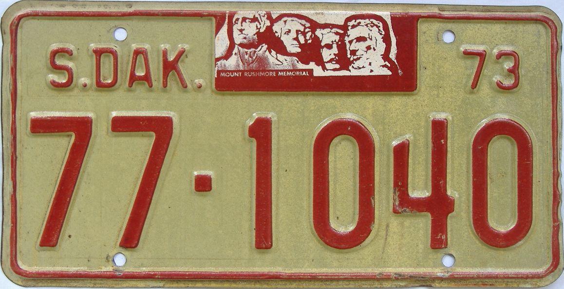 1973 South Dakota (Single) license plate for sale
