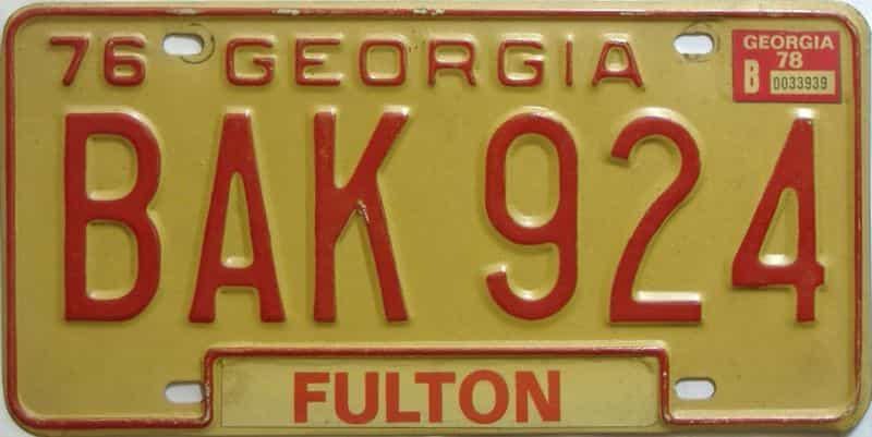 YOM 1978 Georgia YOM 1971 - 1989 license plate for sale
