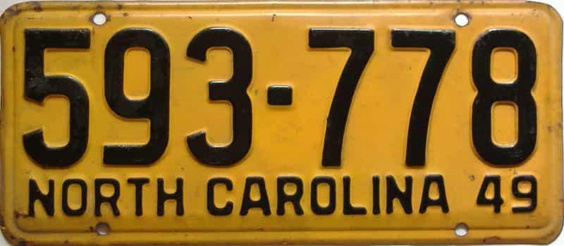 1949 North Carolina  (Single) license plate for sale