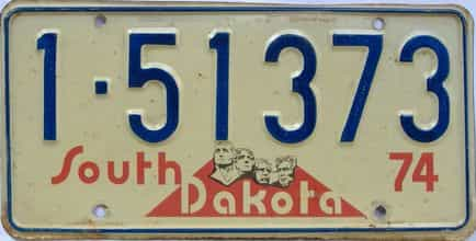 1974 South Dakota  (Single) license plate for sale