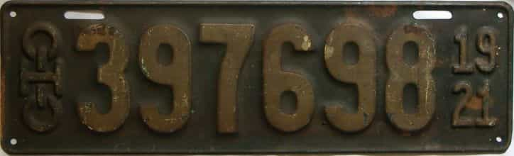 1921 Ohio  (Single) license plate for sale