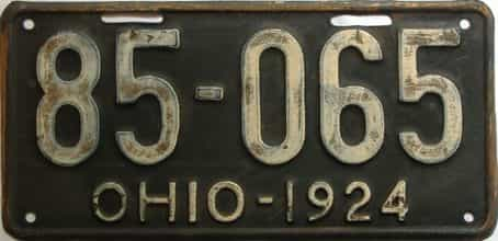 1924 Ohio  (Single) license plate for sale
