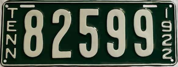 RESTORED 1922 Tennessee  (Single) license plate for sale