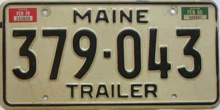 1980 Maine  (Trailer) license plate for sale