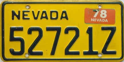 1978 Nevada  (Single) license plate for sale