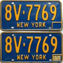 1966 New York  (Pair) license plate for sale