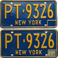 1968 New York  (Pair) license plate for sale