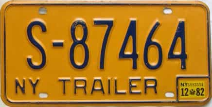 1982 New York  (Trailer) license plate for sale