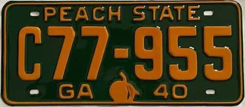 YOM RESTORED 1940 Georgia  (Single) license plate for sale