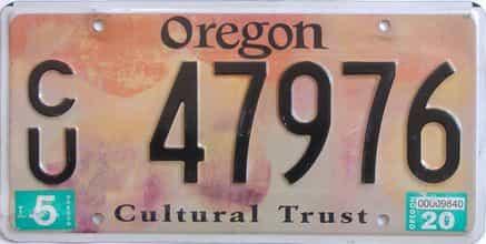 2020 Oregon  (Single) license plate for sale