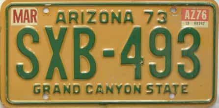 1976 Arizona  (Single) license plate for sale