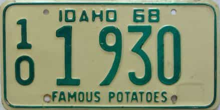 1968 Idaho  (Single) license plate for sale