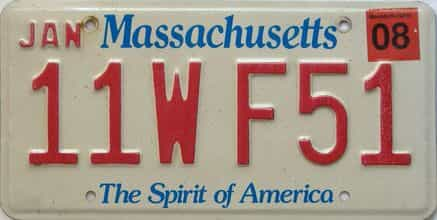 2008 Massachusetts  (Single) license plate for sale