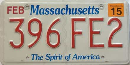 2015 Massachusetts  (Single) license plate for sale