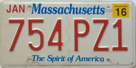 2016 Massachusetts  (Single) license plate for sale