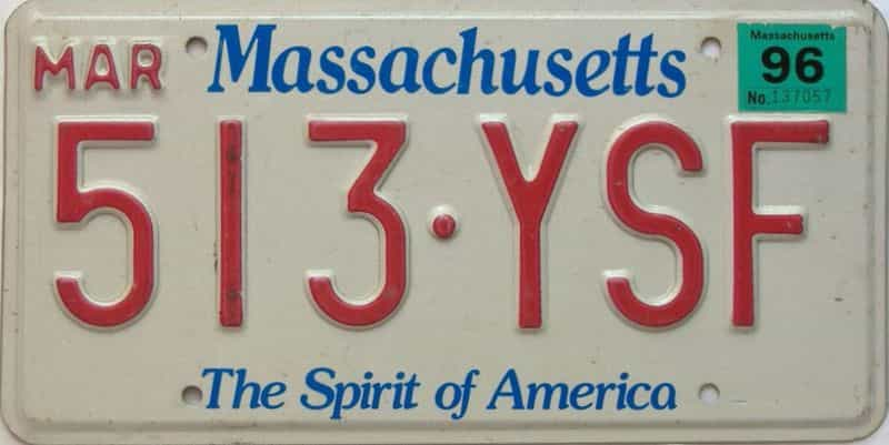 1996 Massachusetts  (Single) license plate for sale