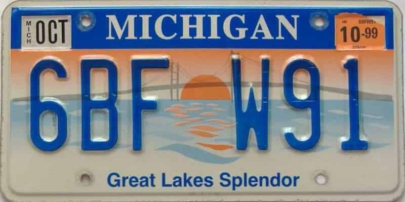 1999 Michigan license plate for sale